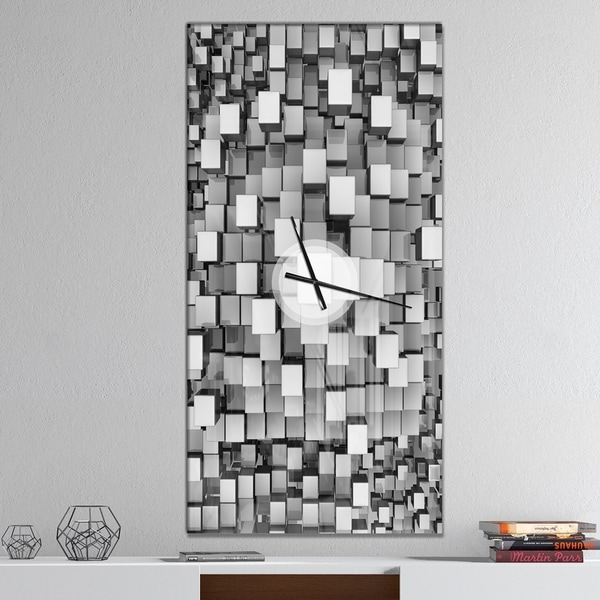 Designart 'Black and Grey Cubes' Oversized Modern Wall CLock