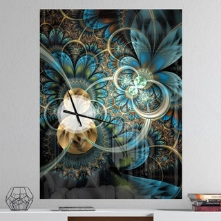 Designart 'Symmetrical Blue Gold Fractal Flower' Oversized Modern Metal Clock