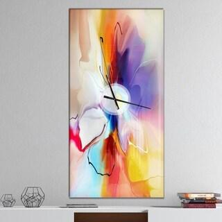 Designart 'Creative Flower in Multiple Colors' Oversized Modern Wall CLock