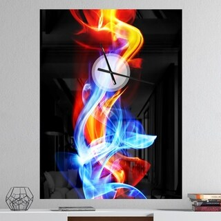Designart 'Fire and Ice' Oversized Abstract Wall CLock
