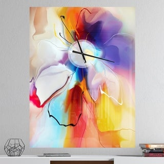 Designart 'Creative Flower in Multiple Colors' Oversized Floral Wall CLock