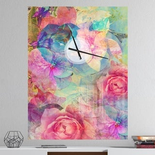 Designart 'Vintage Romantic Floral Art' Oversized Floral Wall CLock