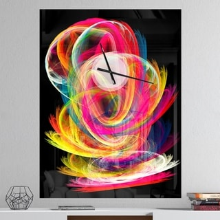Designart 'Colorful Thick Strokes in Black' Oversized Modern Wall CLock