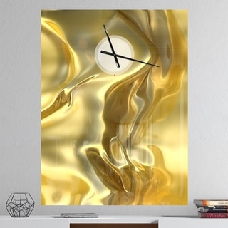 Designart 'Golden Cloth Texture' Oversized Modern Wall CLock