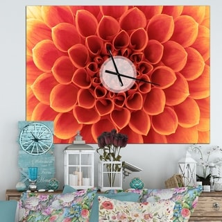 Designart 'Brown Flower with Dense Petals' Oversized Modern Wall CLock