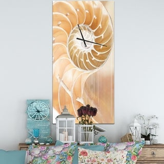 Designart 'Brown Nautilus Shell Pattern' Oversized Coastal Wall CLock