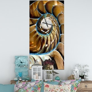 Designart 'Brown Large Nautilus Shell' Oversized Abstract Wall CLock