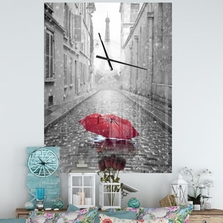 Designart 'Eiffel View from Paris Street' Oversized Industrial Wall CLock