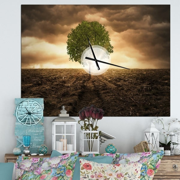 Designart 'Lonely Tree under Dramatic Sky' Oversized Traditional Wall CLock