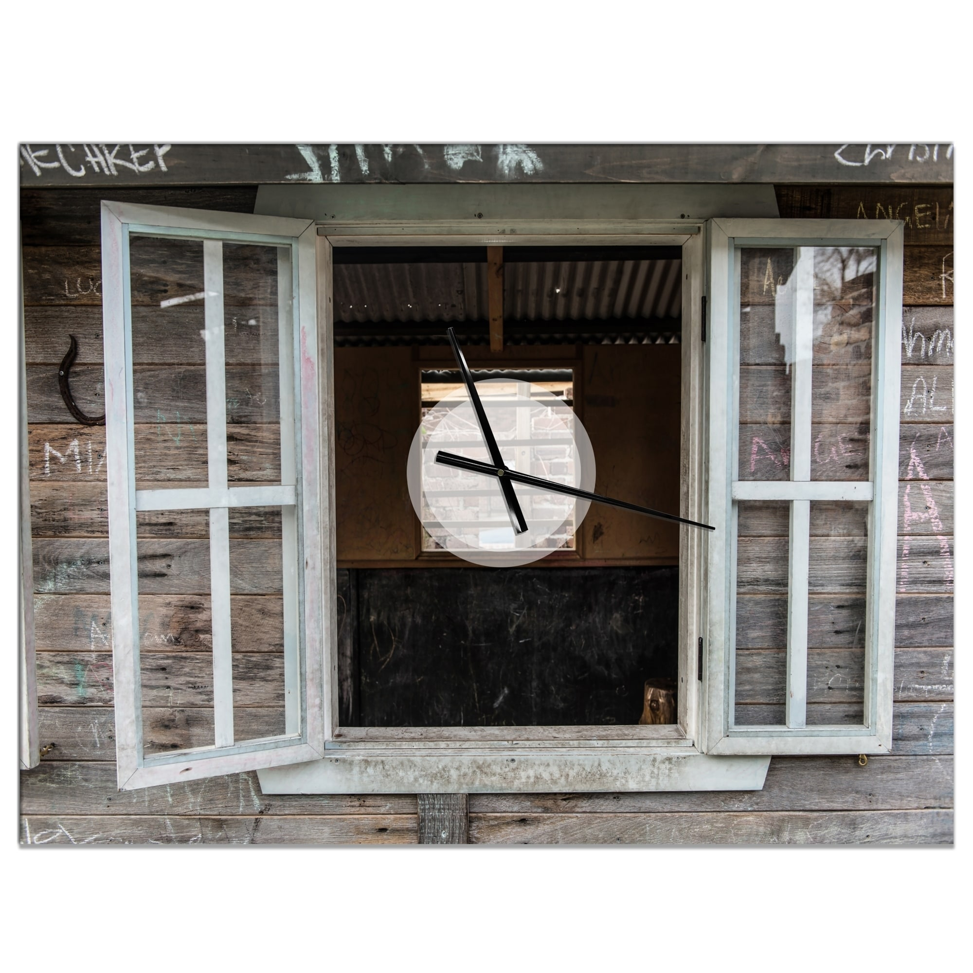 Designart Wooden Walls And Windows Oversized Farmhouse Wall Clock Overstock 24203895 40 In Wide X 30 In High