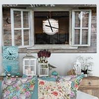 Designart 'Wooden Walls and Windows' Oversized Farmhouse Wall CLock