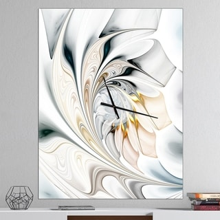 Designart 'White Stained Glass Floral Art' Oversized Modern Wall CLock