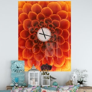 Designart 'Large Dark Yellow Flower and Petals' Oversized Floral Wall CLock