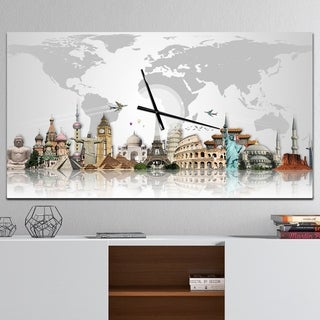 Designart 'Famous Monuments Across World' Large Industrial Wall CLock