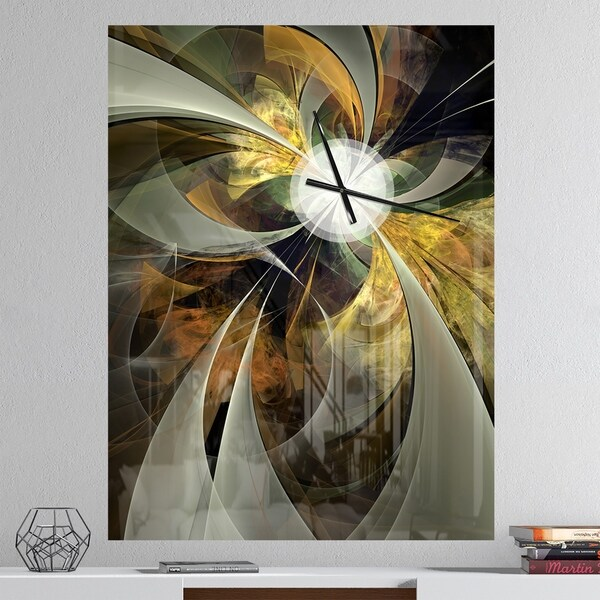 Designart 'Symmetrical Gold Fractal Flower' Oversized Floral Wall CLock