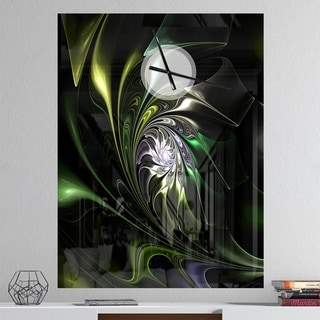 Designart 'Multi Colored Green Stained Glass' Oversized Modern Wall CLock