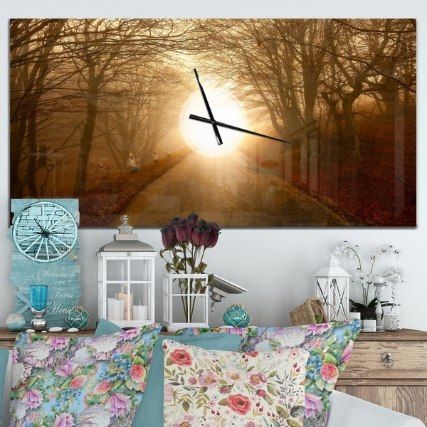 Designart 'Path to Sunlight in Autumn Forest' Oversized Traditional Wall CLock