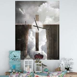 Designart 'Big Cross between Two Cliffs' Oversized Religious Wall CLock