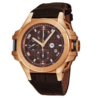 Snyper Men's 50.550.00 'Iron Clad' Brown Dial Brown Leather Strap Rose Gold Chronograph Automatic Watch