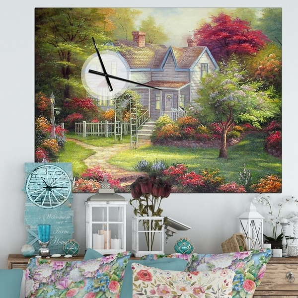 Designart 'The Home in Oil Painting' Oversized Floral Wall CLock