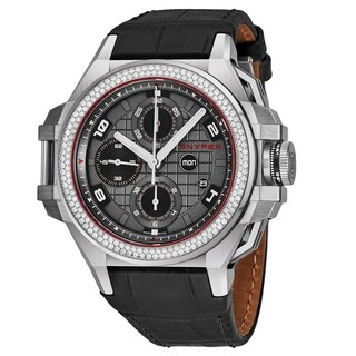 Snyper Men's 50.110.176 'Iron Clad' Grey Dial Grey Leather Strap Chronograph Diamond Automatic Watch
