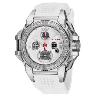 Snyper Men's 10.115.36B 'One' Silver Dial White Rubber Strap Diamond Chronograph Automatic Mechanical Limited Edition Watch