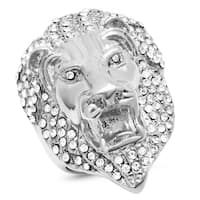 Steeltime Men's Stainless Steel Cubic Zirconia  Lion Head Ring in 2 colors