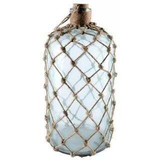 Mercana Ariel I Aqua Glass and Jute Large Apothecary Decorative Bottle
