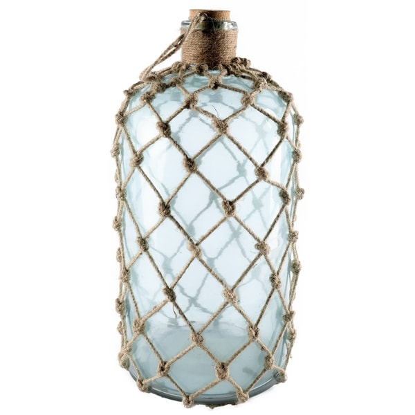 Mercana Ariel I Aqua Glass and Jute Large Apothecary Decorative Bottle