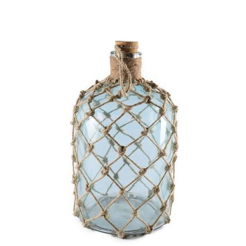 Mercana Ariel II Blue Glass and Woven Jute Net Medium Coastal Apothecary Bottle