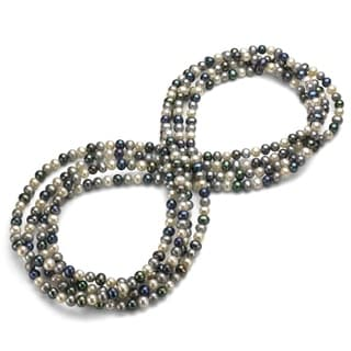 DaVonna Semi Round 9 10mm Dark Multi Colord Freshwater Pearl Endless Necklace