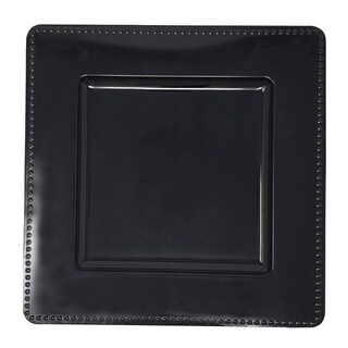 Luxurious Black Rim Heavy Duty Square Charger Plates-6pc