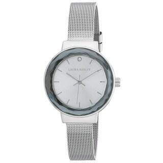 Laura Ashley Ladies LA31044SS SIlver Facet Bezel Sunray Dial Mesh Watch - One size