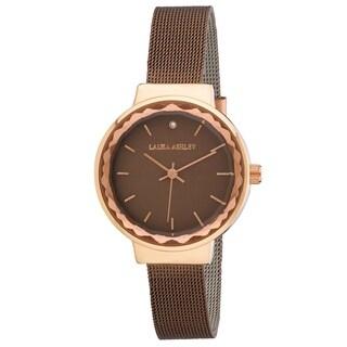 Laura Ashley Ladies LA31044BR Brown Facet Bezel Sunray Dial Mesh Watch - One size