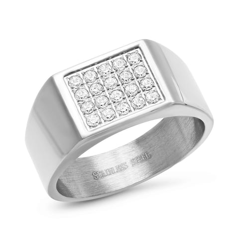 Steeltime Men's Stainless Steel Cubic Zirconia Signet Ring in 2 Colors