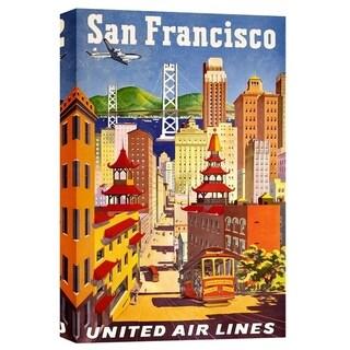 "Epic Graffiti ""San Francisco Vintage Airline Advertisement"" Giclee Canvas Wall Art, 12"" x 18"""