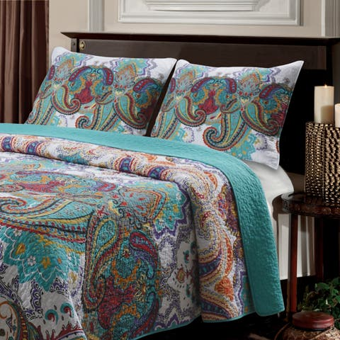The Curated Nomad Horsdal Teal Quilted Pillow Sham Set (Set of 2)