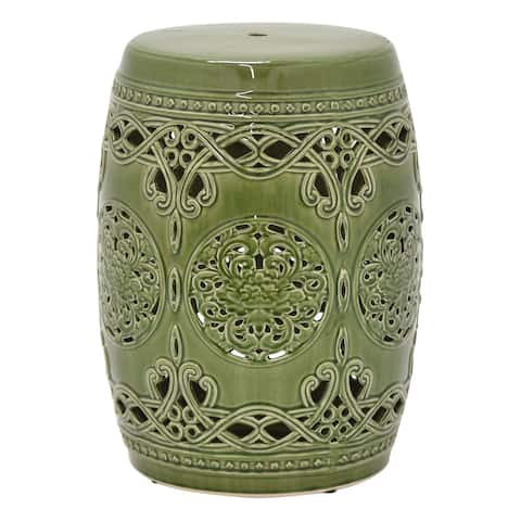 Three Hands Green Ceramic 18.5-inch Handmade Ottoman Garden Stool