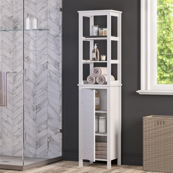 RiverRidge Madison Collection Linen Tower with Open Shelves - White