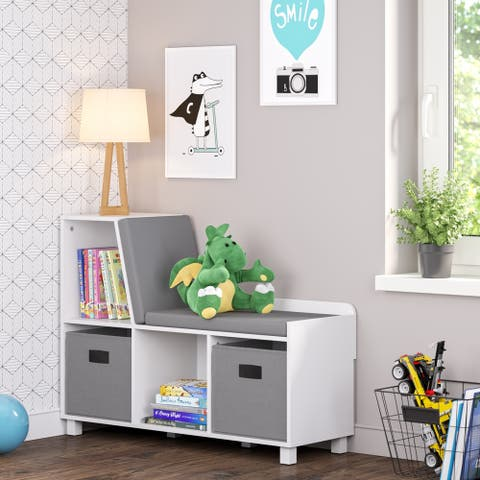 RiverRidge Kids Storage Bench with Cubbies with Optional Bins