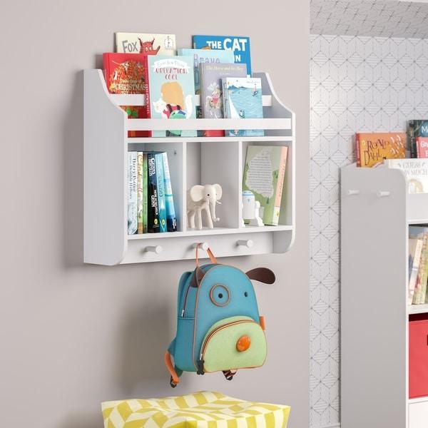 RiverRidge Kids Wall Shelf with Cubbies and Bookrack