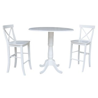 42 In Round Top Pedestal Bar Height Drop Leaf Table with 2 Bar Height Stools