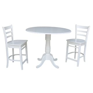42 In Round Top Pedestal Gathering Height Drop Leaf Table with 2 Counter Height Stools