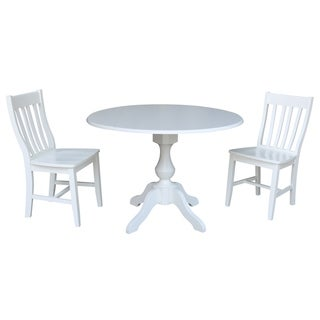 42 In Round Pedestal Drop Leaf Table with 2 Chairs