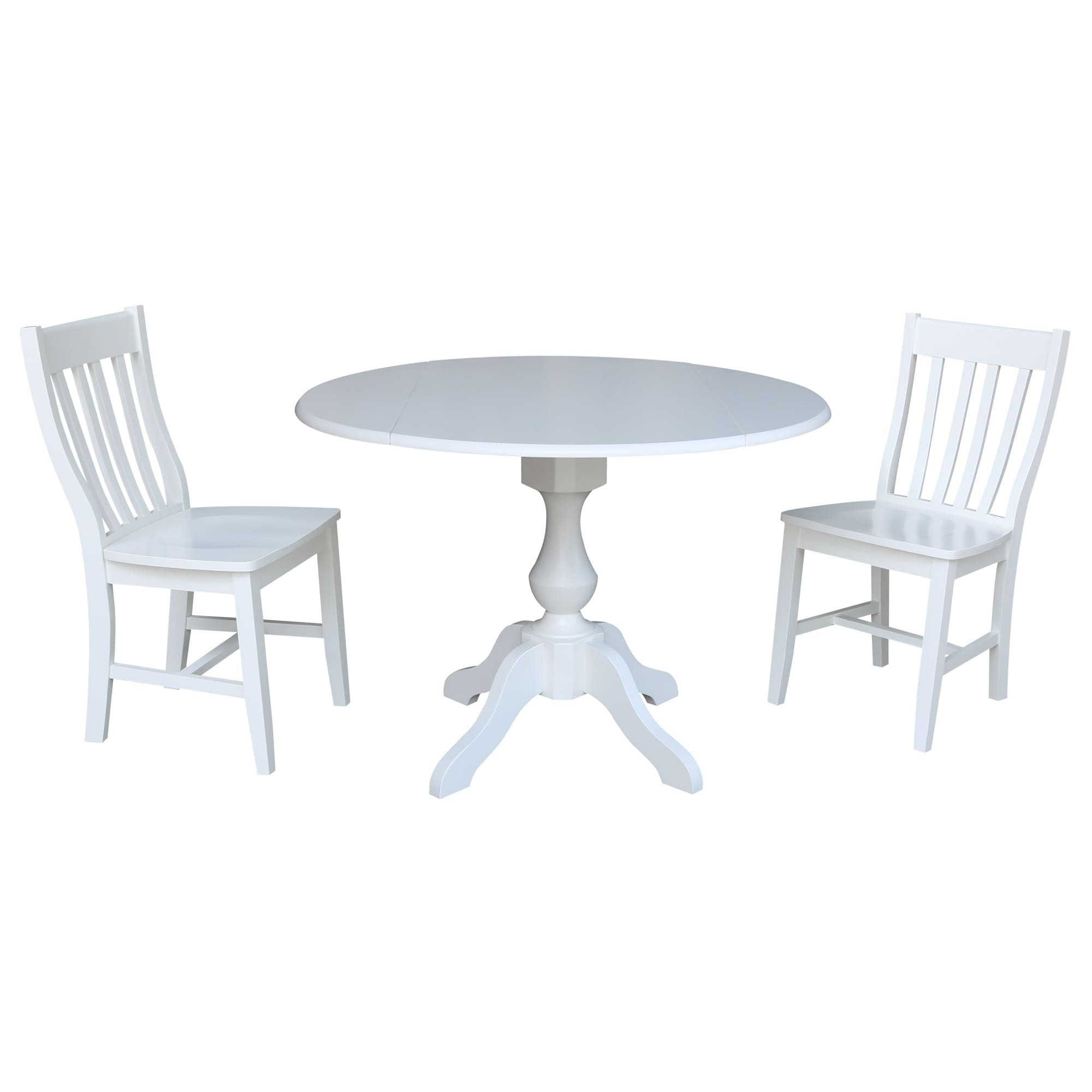 Super Details About 42 In Round Pedestal Drop Leaf Table With 2 Chairs White 3 Piece Sets Cjindustries Chair Design For Home Cjindustriesco