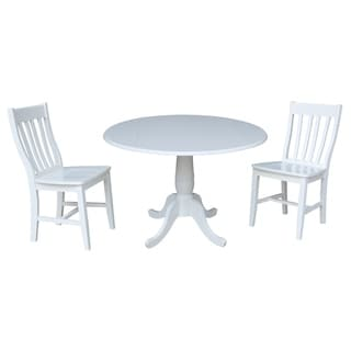 42 In Round Top Pedestal Drop Leaf Table with 2 Chairs