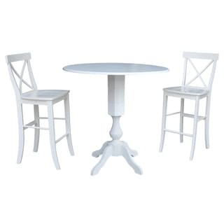 42 In Round Pedestal Bar Height Drop Leaf Table with 2 Bar Height Stools