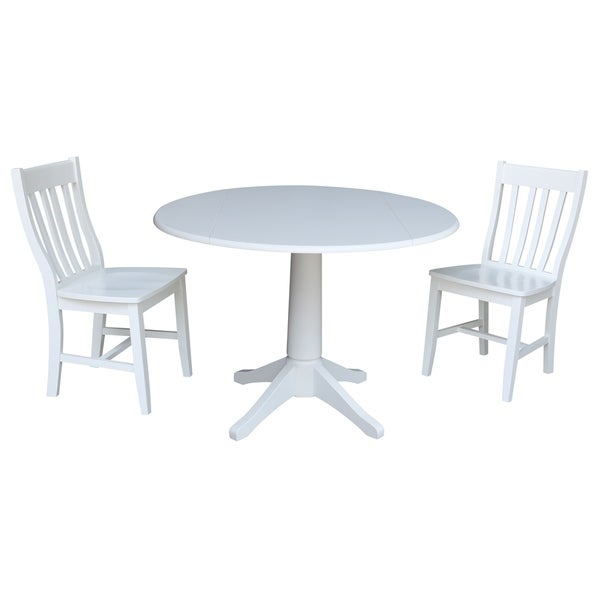 42 In Round Top Drop Leaf Table with 2 Chairs