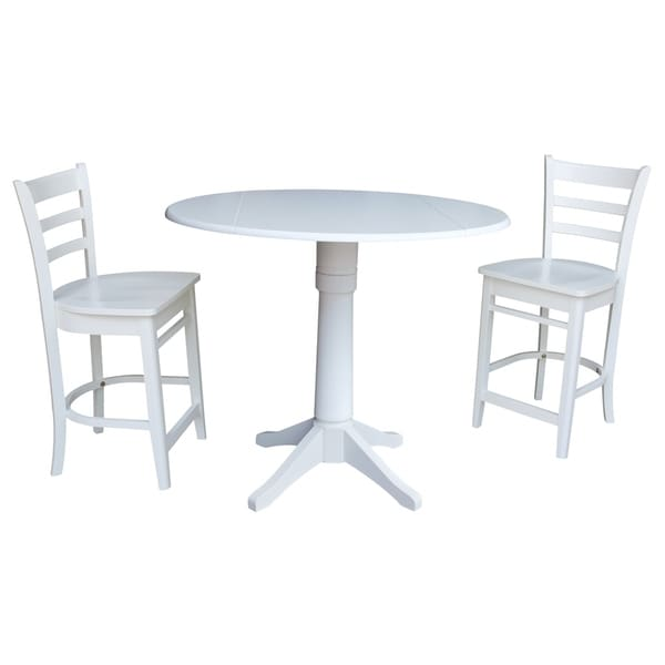 Shop Counter Height 42 Inch Round Drop Leaf Table And Stool Set On