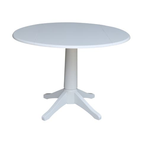 42 in Round Top Dual Drop Leaf Pedestal Table - White